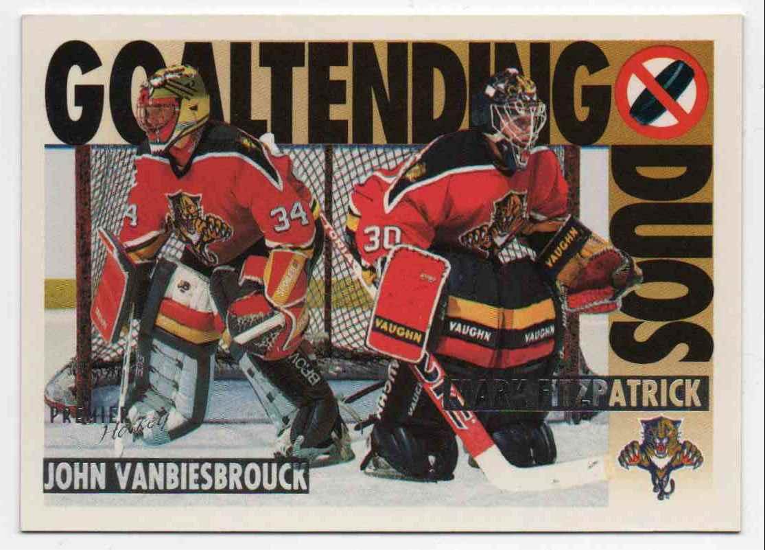 1994-95 Topps Premier Goaltending Duo John Vanbiesbrouck, Mark Fitzpatrick #82 card front image