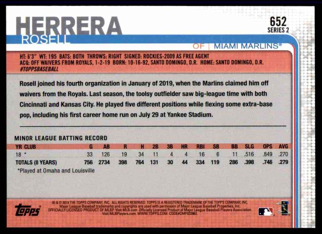 2019 Topps Series 2 Rosell Herrera #652 card back image
