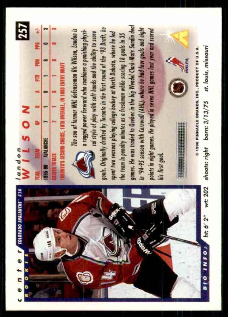 1996-97 Score Landon Wilson #257 card back image
