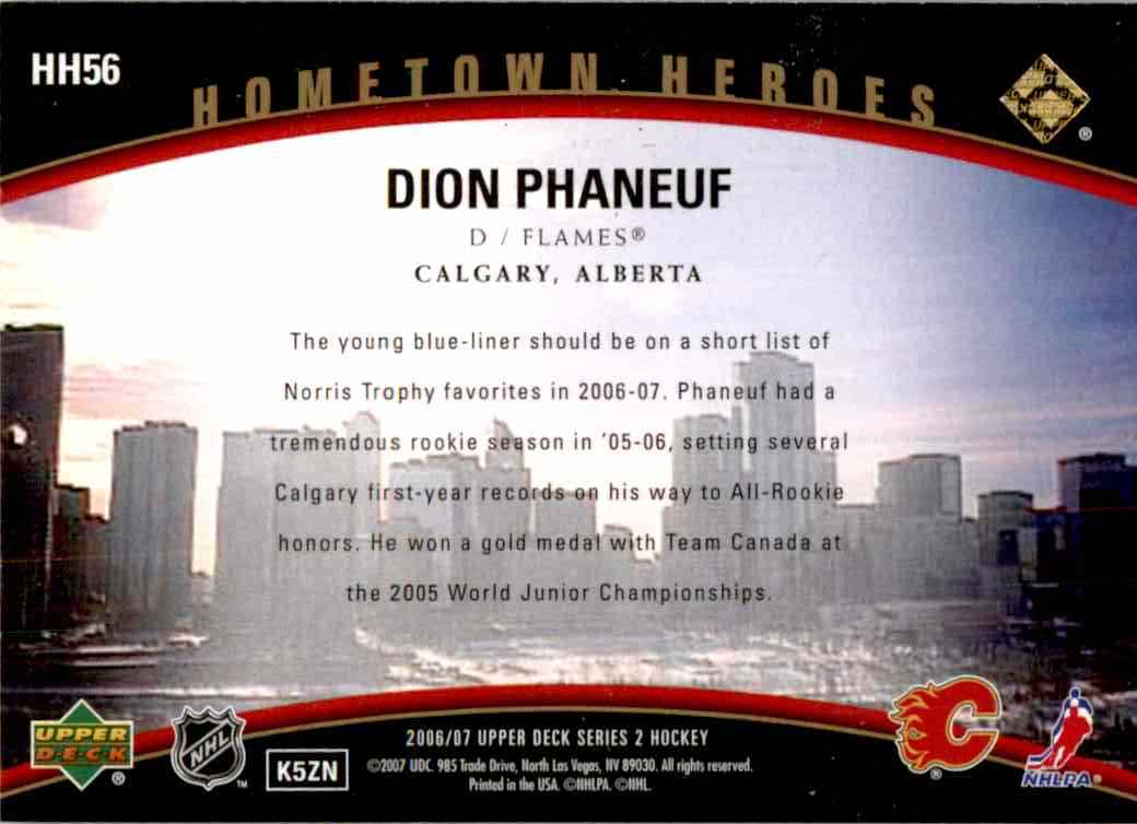 2006-07 Upper Deck Hometown Heroes Dion Phaneif #HH56 card back image
