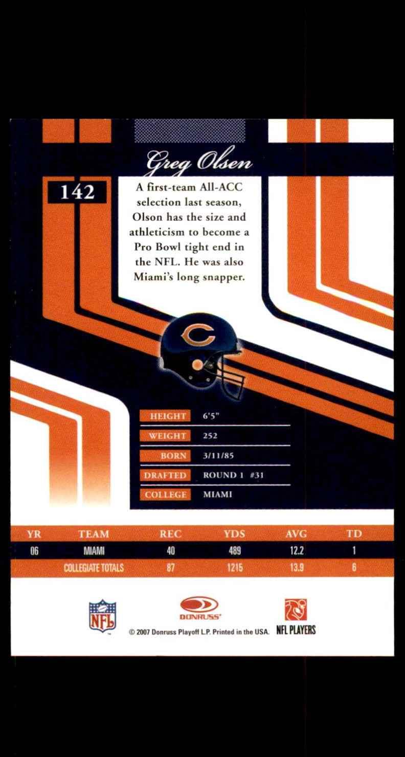 2007 Donruss Elite Greg Olsen RC #142 card back image