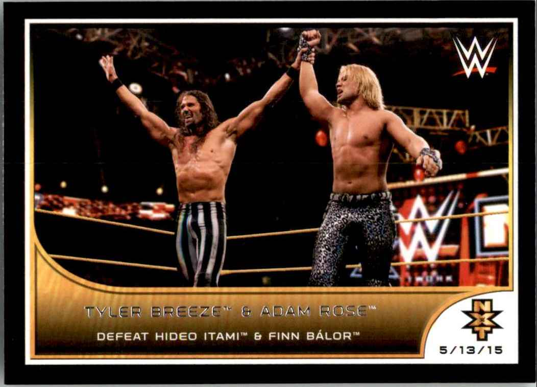 2016 Topps Wwe Road To WrestleMania Tyler Breeze & Adam Rose Defeat Hideo Itami & Finn Balor #90 card front image
