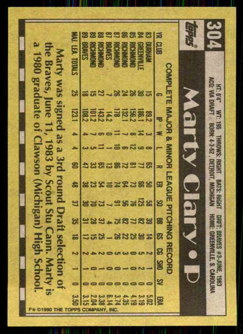 1990 Topps Marty Clary #304 card back image