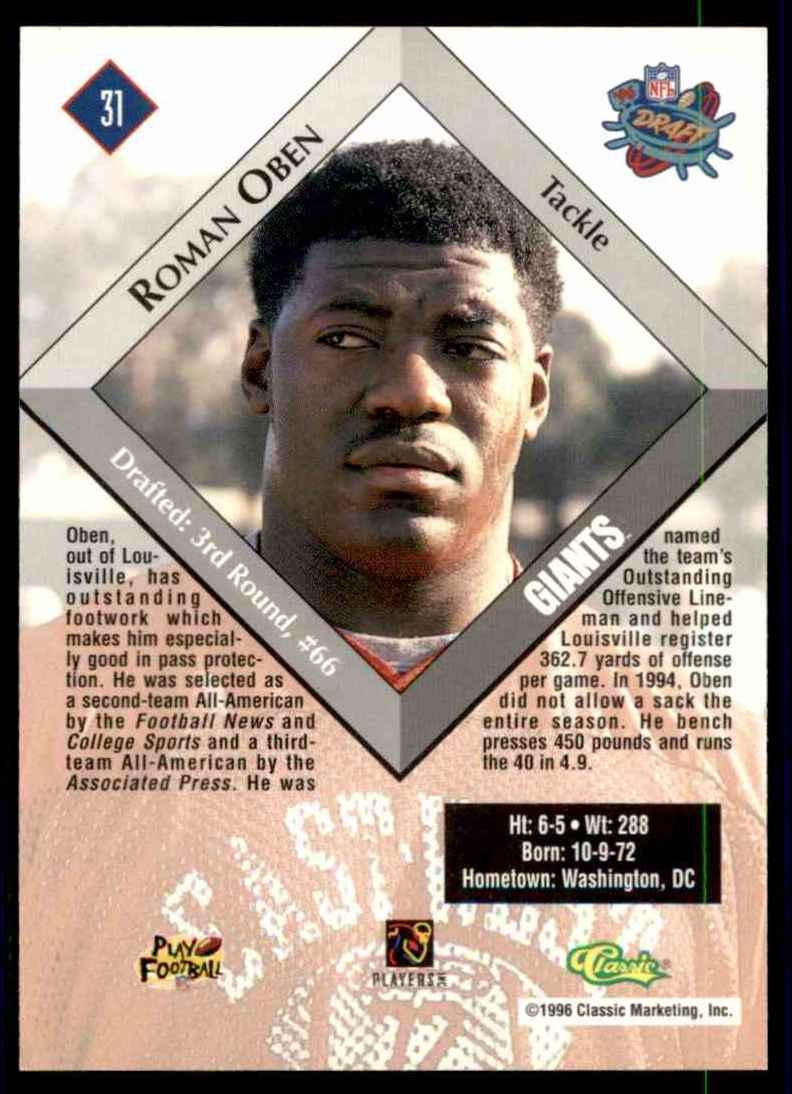 1996 Classic NFL Rookies Roman Oben #31 card back image