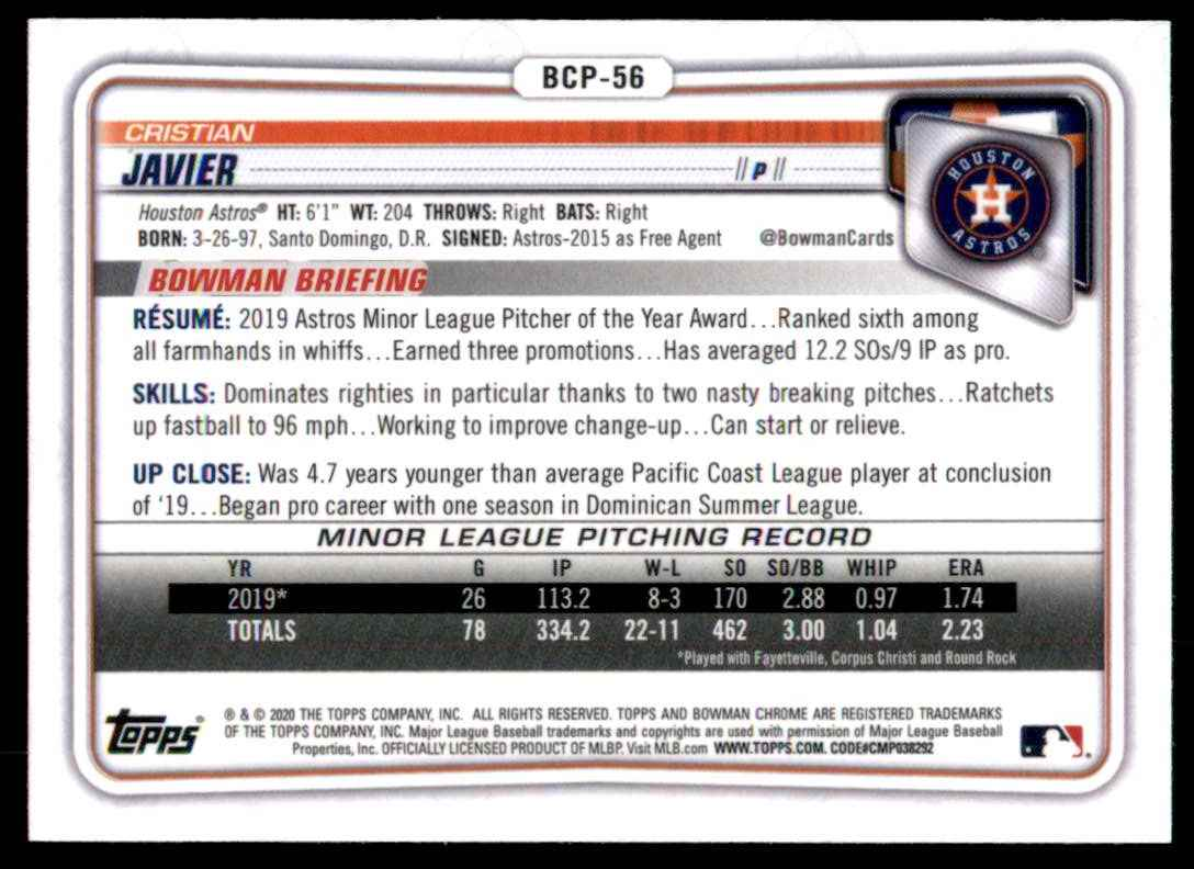 2020 Bowman Chrome Prospects Cristian Javier #BCP56 card back image