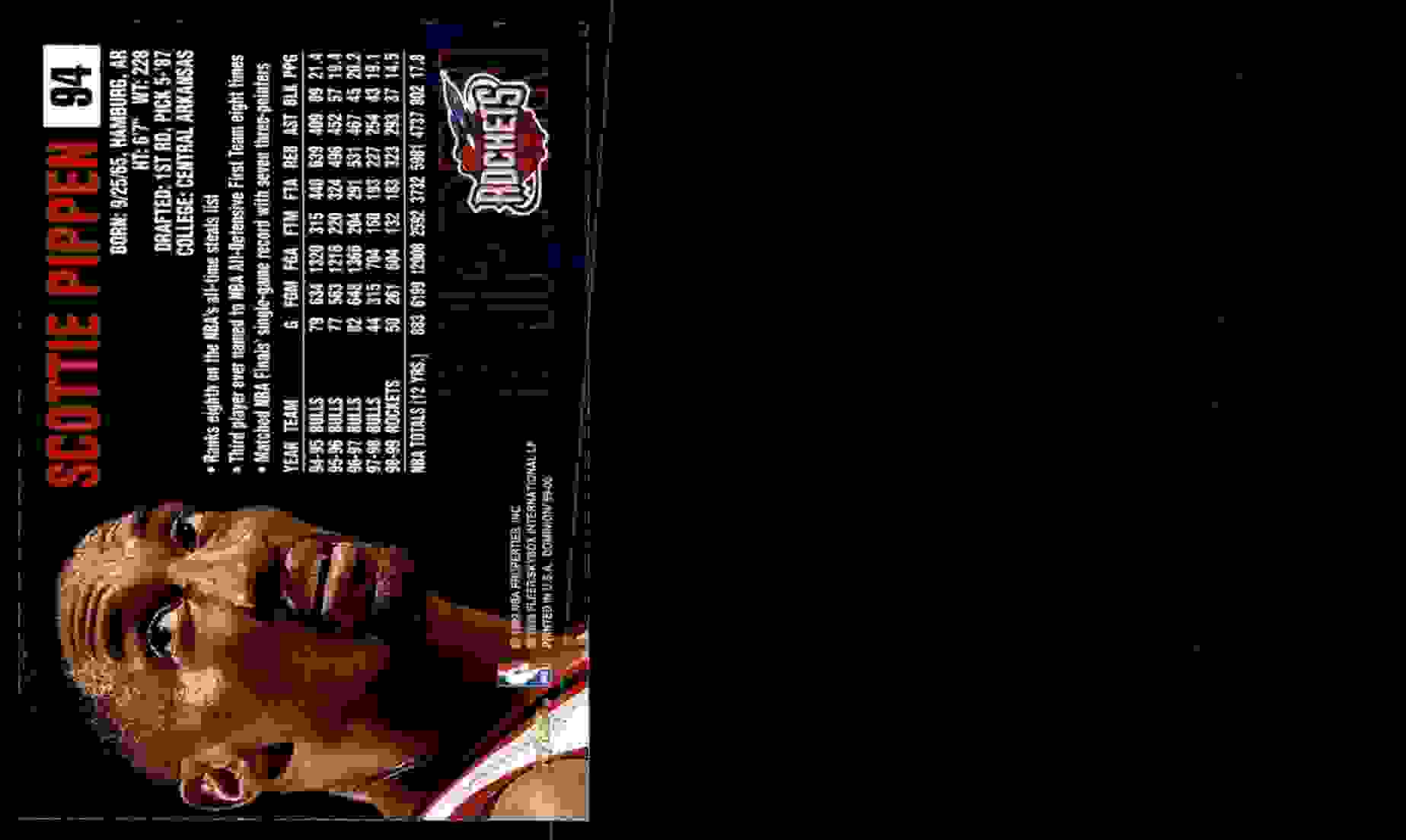 1999-00 Skybox Dominion Scottie Pippen #94 card back image