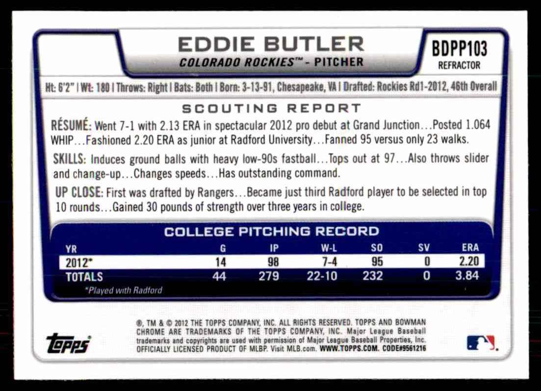 2012 Bowman Chrome Draft Draft Picks Refractors Eddie Butler #BDPP103 card back image