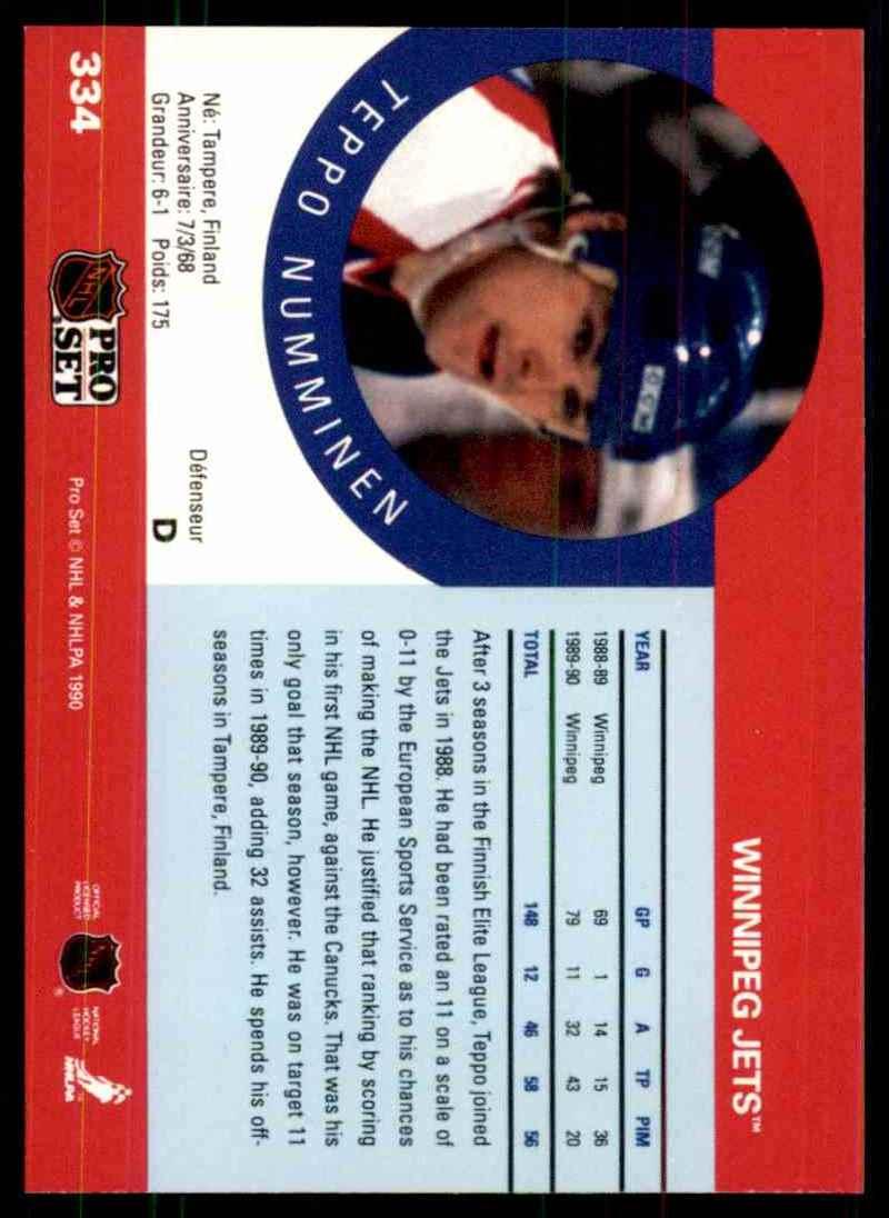 1990-91 Pro Set Teppo Numminen RC #334 card back image