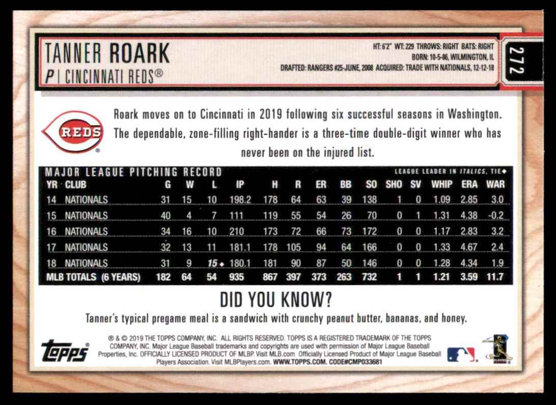 2019 Topps Big League Tanner Roark #272 card back image