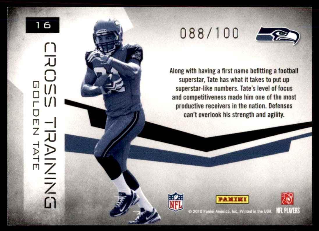 2010 Rookies & Stars Crosstraining Black Golden Tate #16 card back image
