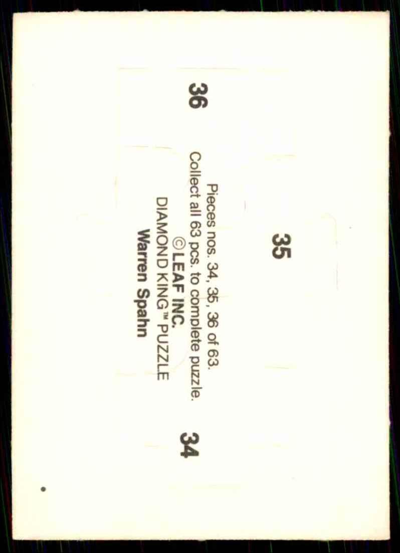 1989 Donruss Warren Spahn Puzzle Spahn Puzzle 34-36 #34 card back image