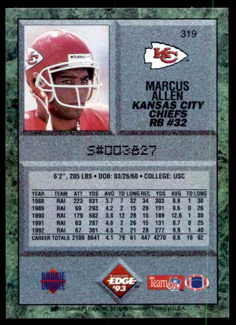 1993 Collector's Edge Marcus Allen #319 card back image