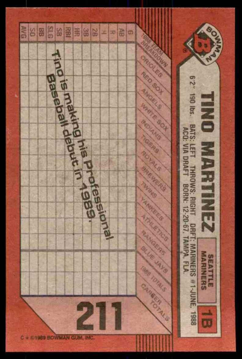 1989 Bowman Tino Martinez RC #211 card back image