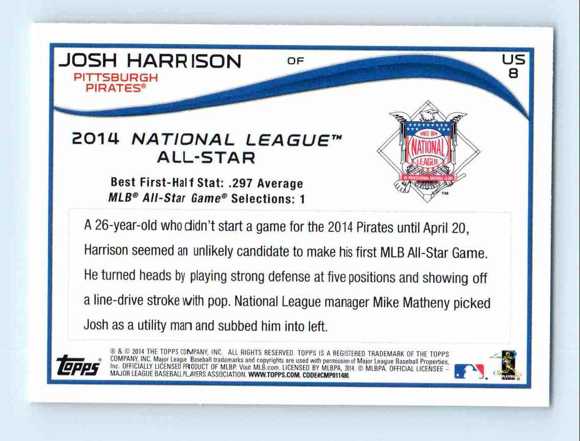 2014-15 Topps Update Josh Harrison - Pittsburgh Pirates #US 8 card back image