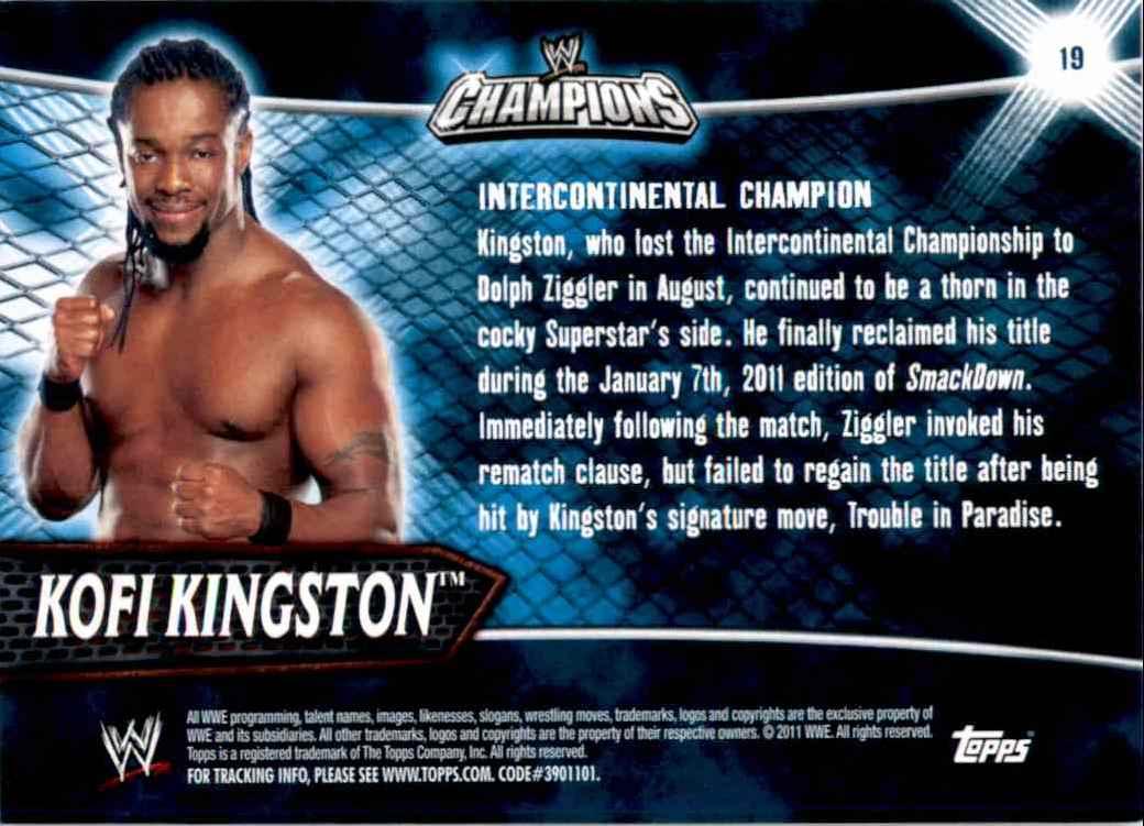 2011 Topps Wwe Champions Kofi Kingston #19 card back image