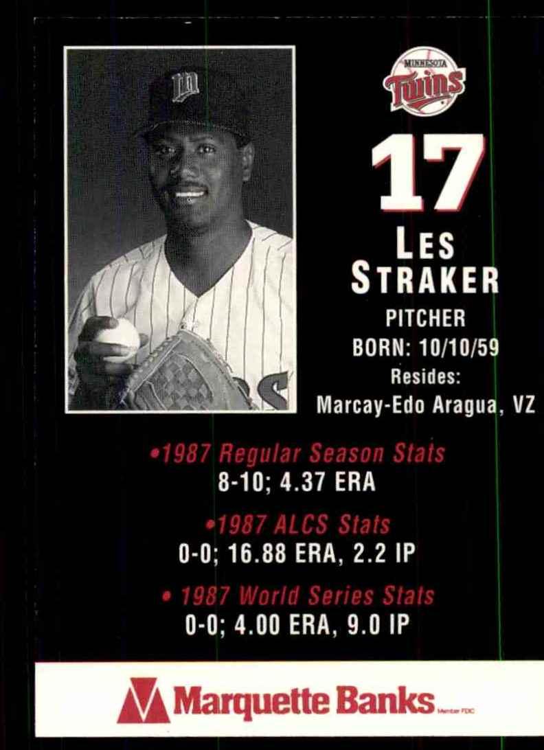 1988 Marquette Banks Les Straker #17 card back image