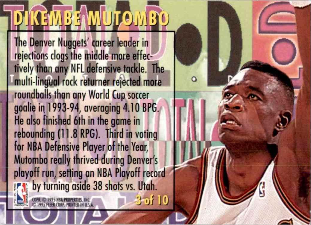 1994-95 Fleer Total D Dikembe Mutombo #3 card back image