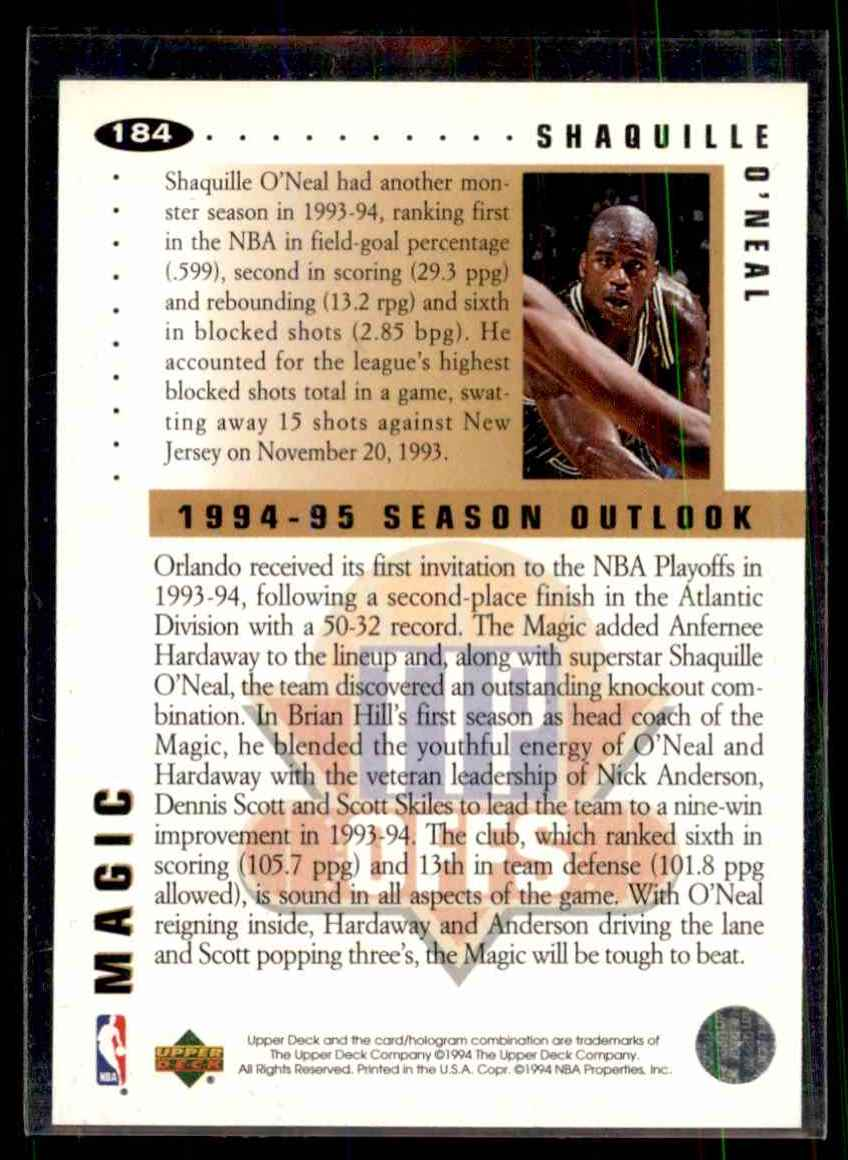 1994-95 Collector's Choice Shaquille O'Neal To #184 card back image