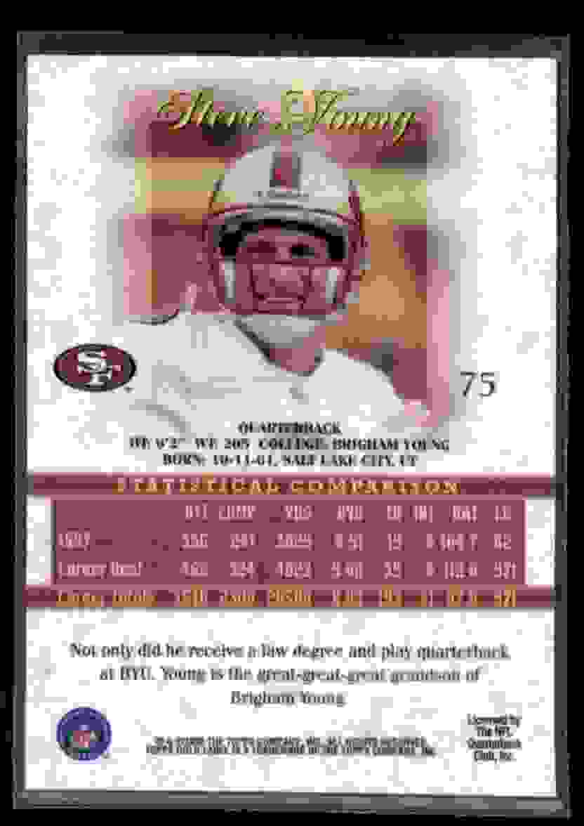 1998 Topps Gold Label Class 2 Steve Young #75 card back image