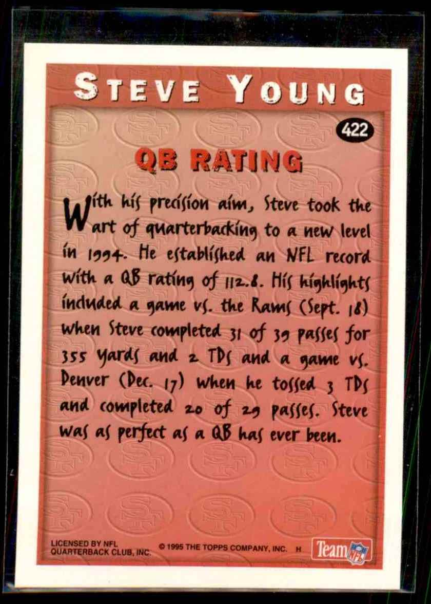 1995 Topps Steve Young #422 card back image