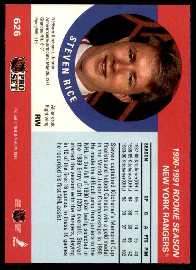 1990-91 Pro Set Steven Rice RC #626 card back image