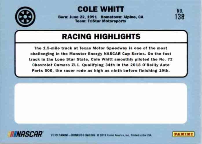 2019 Donruss Cole Whitt #138 card back image
