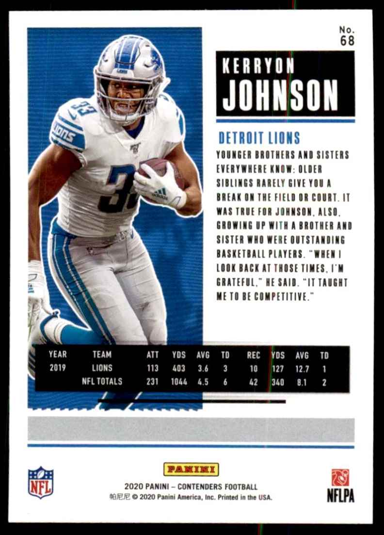 2020 Panini Contenders Kerryon Johnson #68 card back image