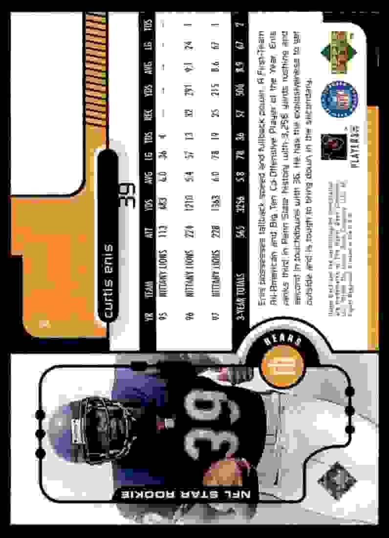 1998 Upper Deck Curtis Enis #5 card back image
