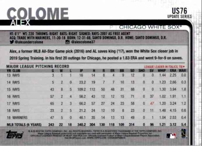 2019 Topps Update Alex Colome #US76 card back image