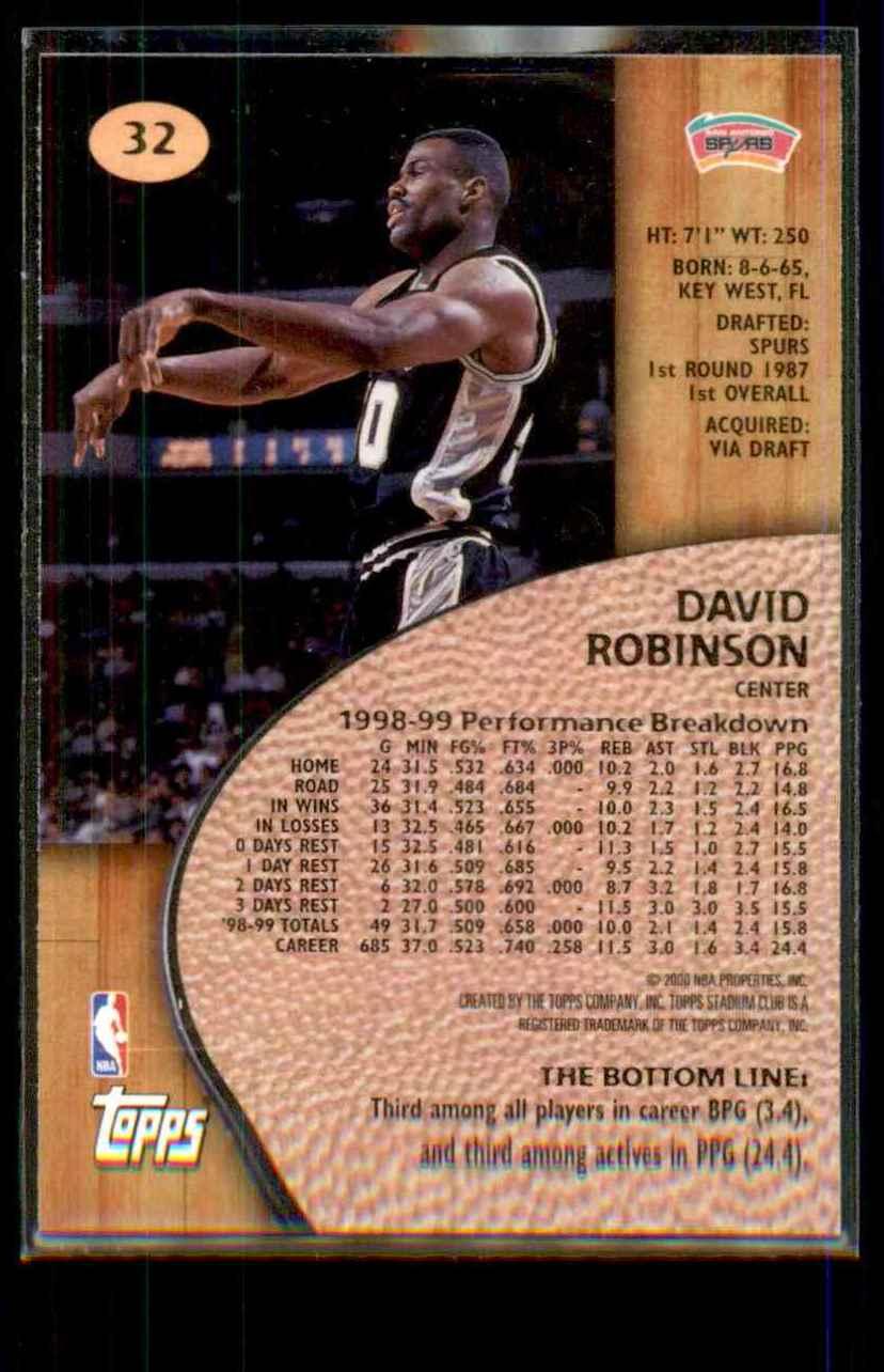 1999-00 Stadium Club David Robinson #32 card back image