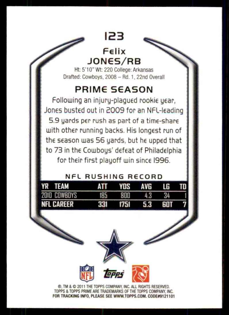 2011 Topps Prime Felix Jones #123 card back image