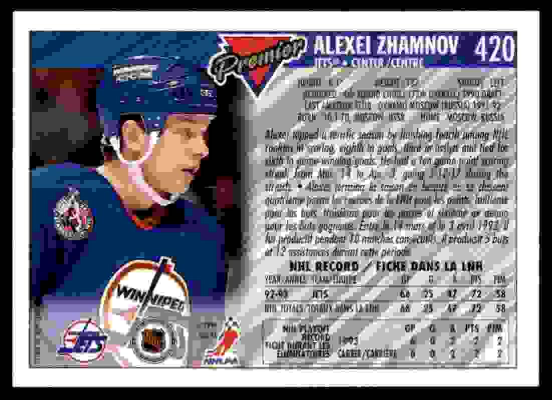 1993-94 Topps Premier Alexei Zhamnov #420 card back image