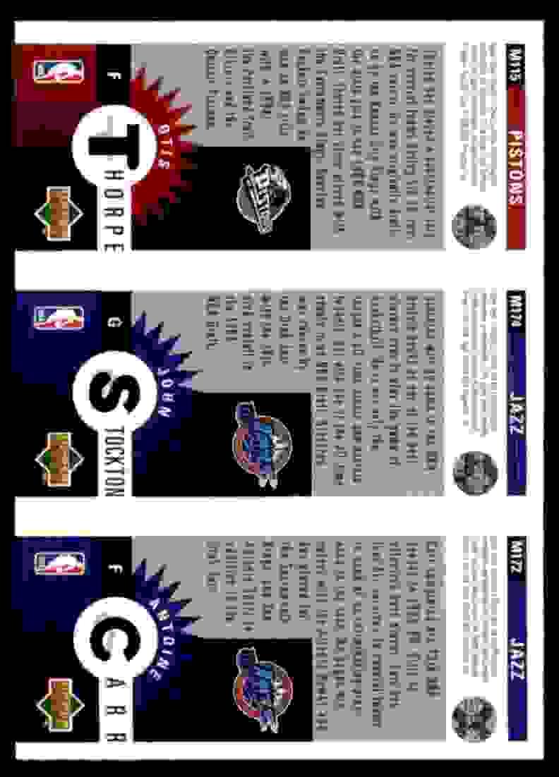 1996-97 Collector's Choice Mini-Cards Otis Thorpe/John Stockton/Antoine Carr #M115 card back image
