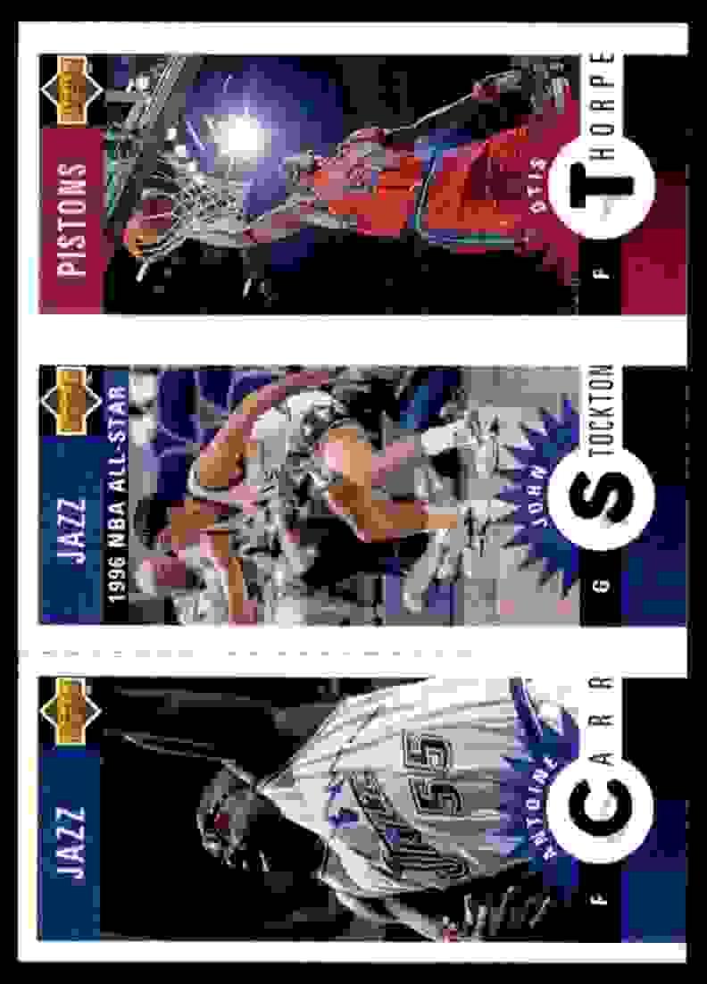 1996-97 Collector's Choice Mini-Cards Otis Thorpe/John Stockton/Antoine Carr #M115 card front image