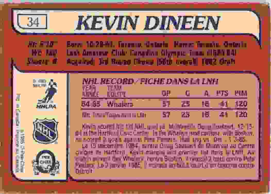 1985-86 O-Pee-Chee Kevin Dineen #34 card back image