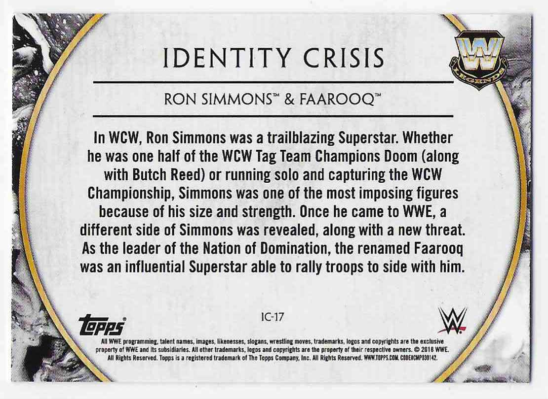 2018 Legends Of Wwe Identity Crisis Ron Simmons & Faarooq #17 card back image