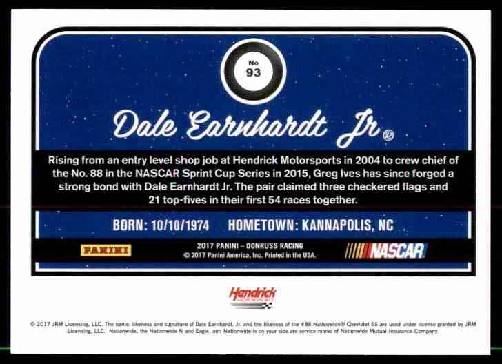 2017 Donruss Dale Earnhardt #93 card back image
