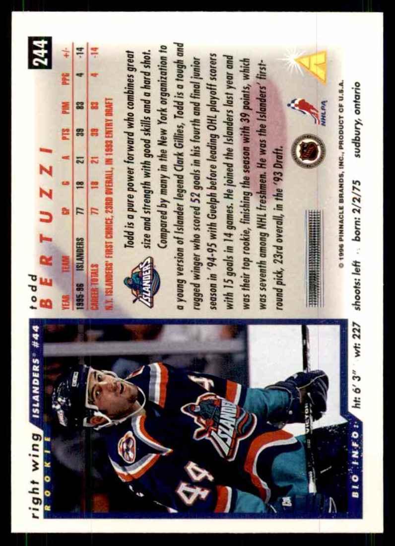 1996-97 Score Todd Bertuzzi #244 card back image