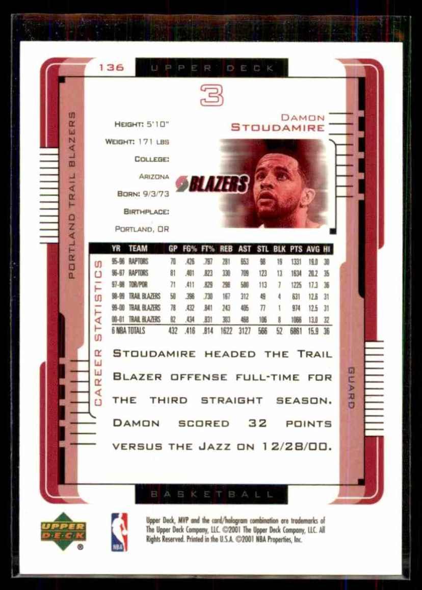 2001-02 Upper Deck MVP Damon Stoudamire #136 card back image