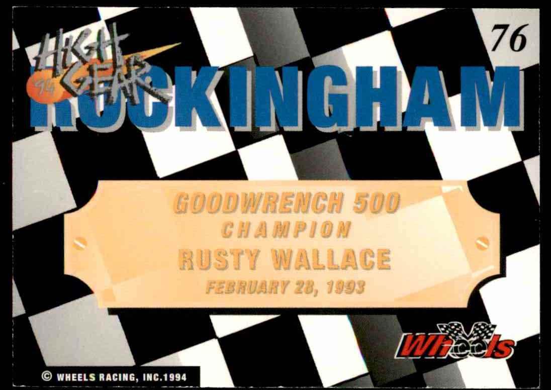 1994 Wheels High Gear Rusty Wallace #76 card back image