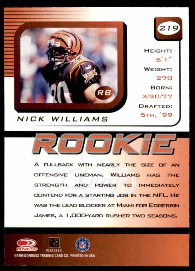 1999 Leaf Rookies & Stars Nick Williams #219 card back image