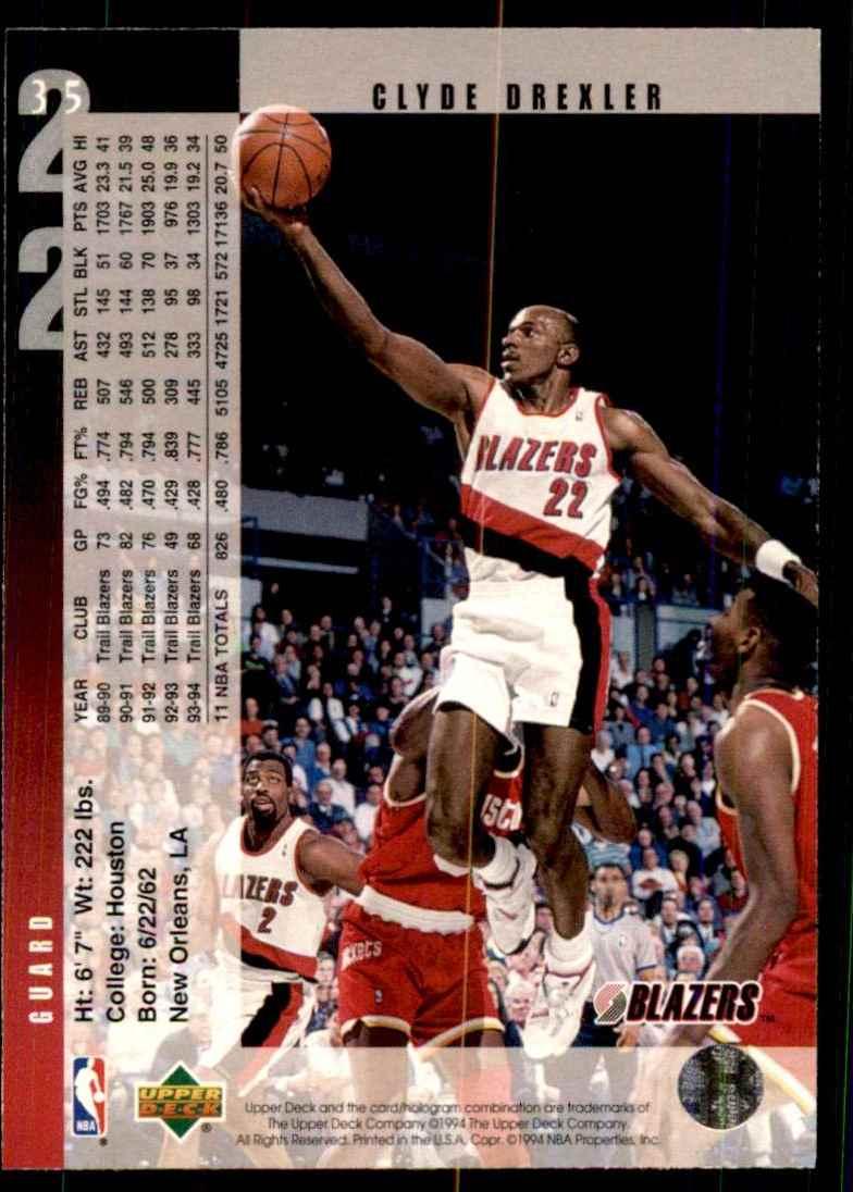 1994-95 Upper Deck Clyde Drexler #35 card back image