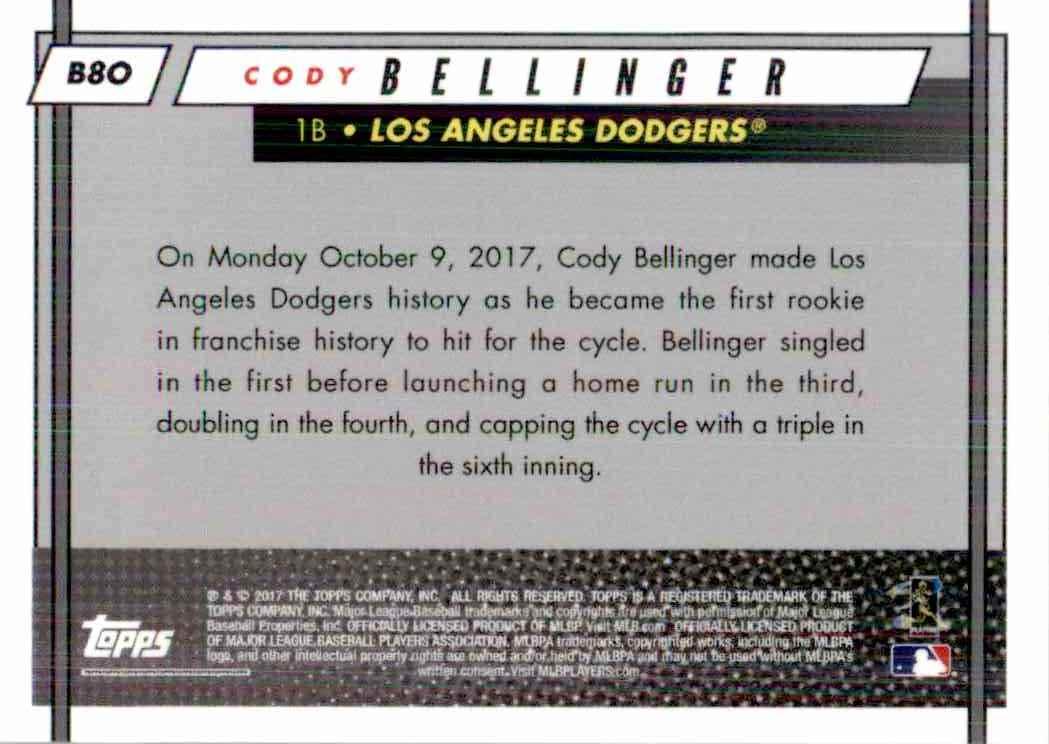 2017 Topps Cody Bellinger #B80 card back image