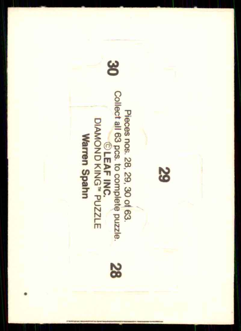 1989 Donruss Warren Spahn Puzzle Spahn Puzzle 28-30 #28 card back image