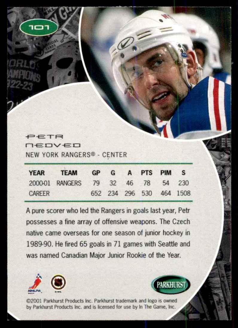 2001-02 Parkhurst Petr Nedved #101 card back image