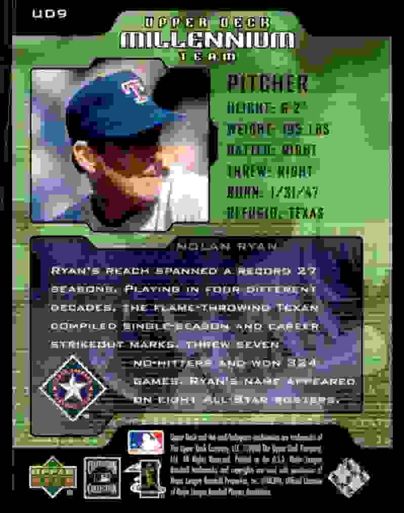 2000 Upper Deck Legends Millennium Team Nolan Ryan #UD9 card back image