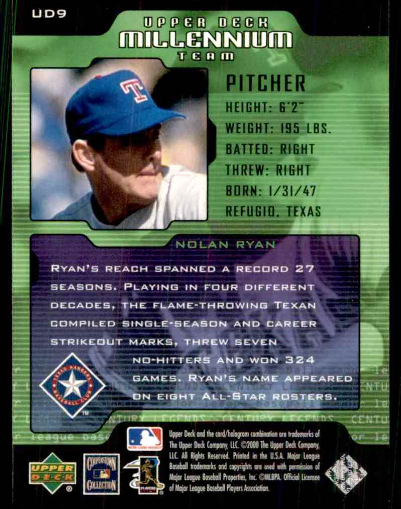 2000 Upper Deck Legends Millennium Team Nolan Ryan #UD9 card back image