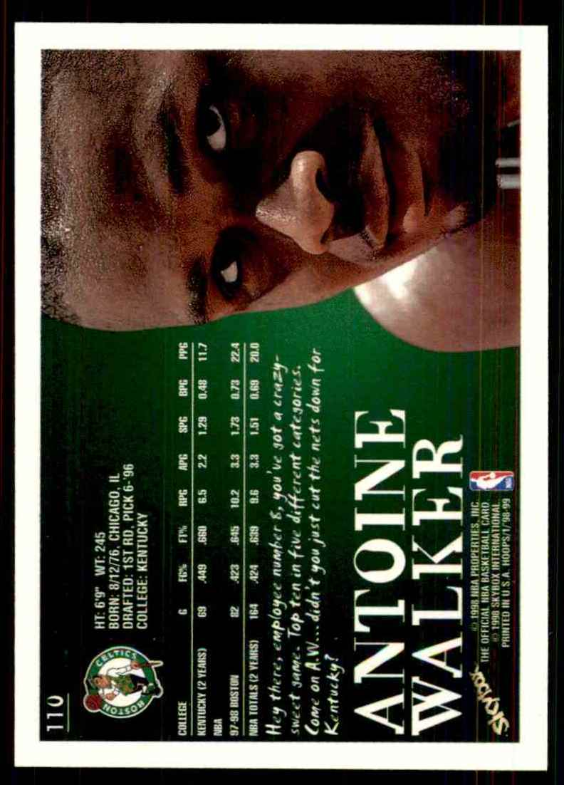 1998-99 Hoops Antoine Walker #110 card back image