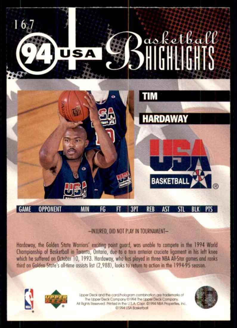 1994-95 Upper Deck Tim Hardaway USA #167 card back image