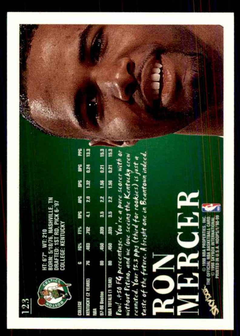 1998-99 Hoops Ron Mercer #123 card back image